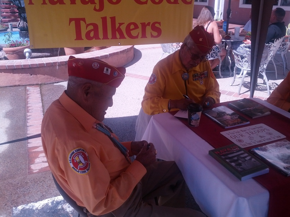2013-09-20 Old Town Albuquerque (14) got to meet three of the remaining Navajo Code Talkers.jpg
