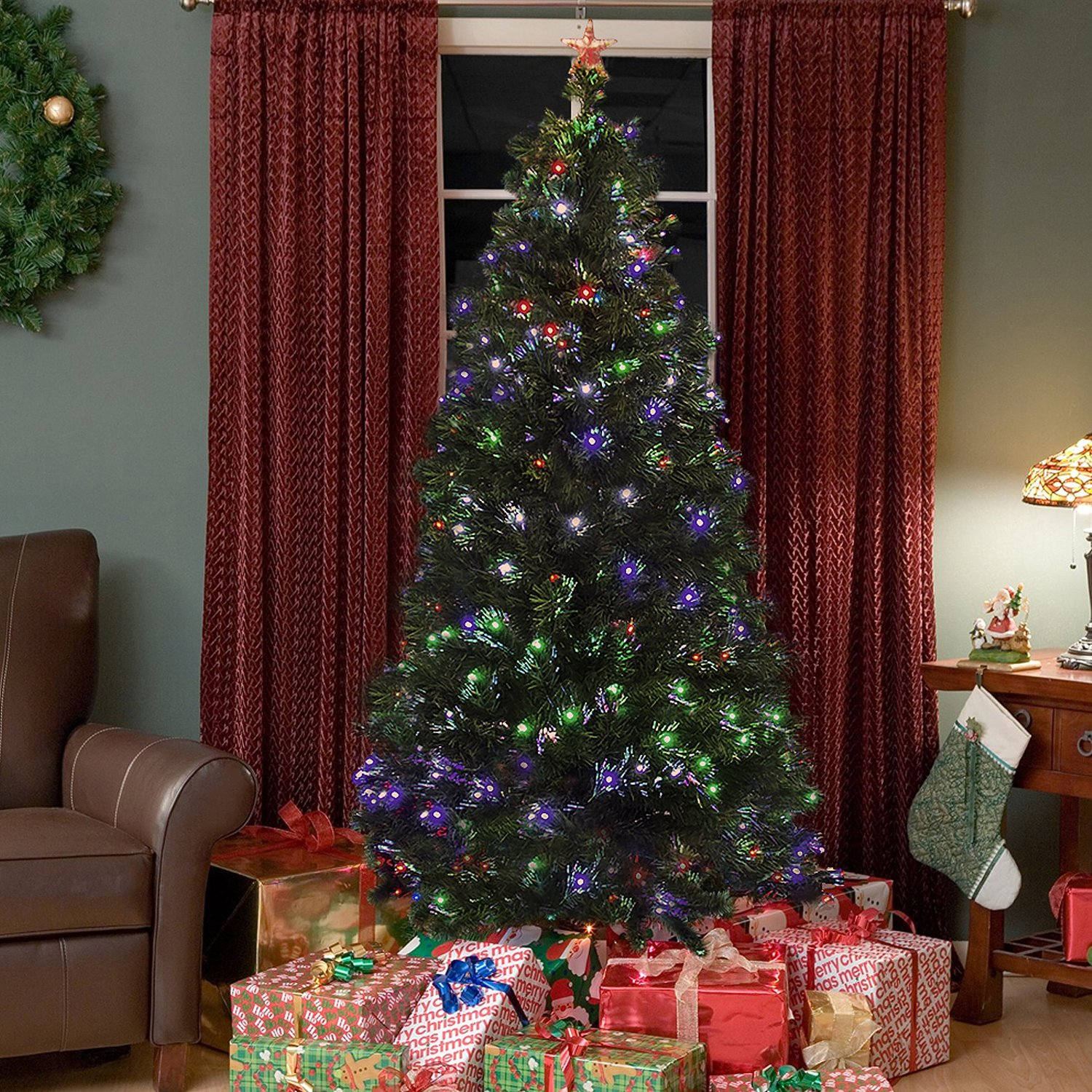 Fiber Optic 7 Christmas Tree With Multicolor Led Lights And Stand