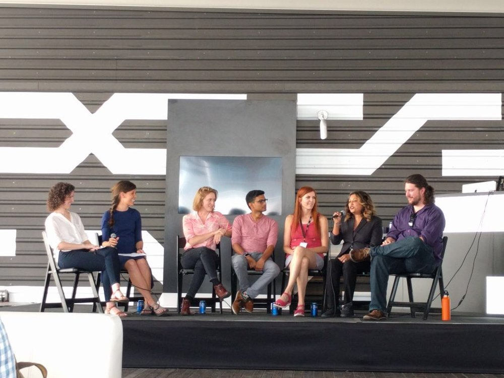 UX Research Panel at SXSw 2017  –  (from Left) Rebecca Knowe and myself (stefanie Owens) led panelists Halley Wuertz, Omkar Changdakar, Ellen Kolsto, Farzana Sedillo, and Troy BJerke