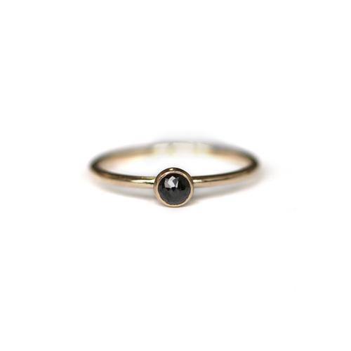 Taal Black Diamond Ring 14k Yellow Gold