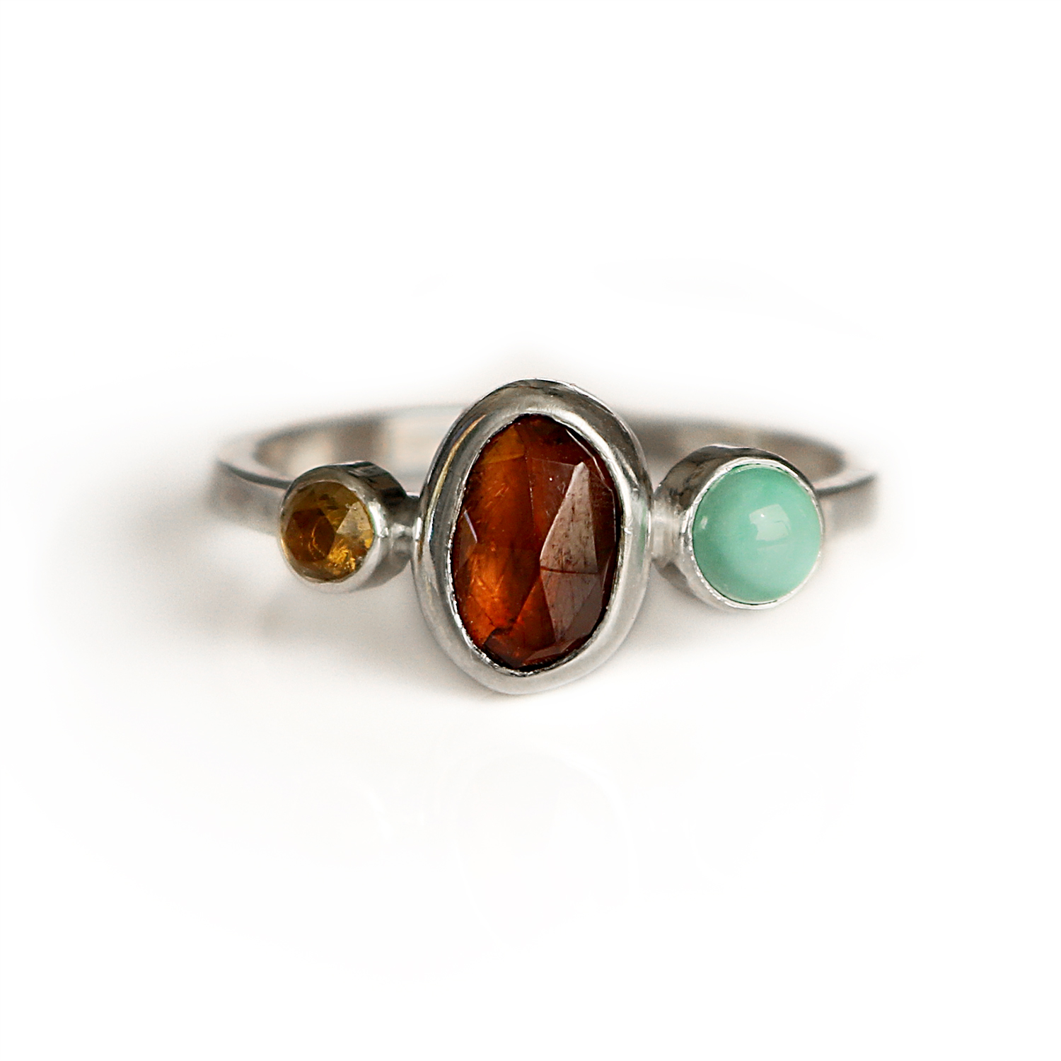 2314db3c1520a8 Zircon + Turquoise + Citrine Trio Ring | Sterling Silver — Lady Faye Jewelry