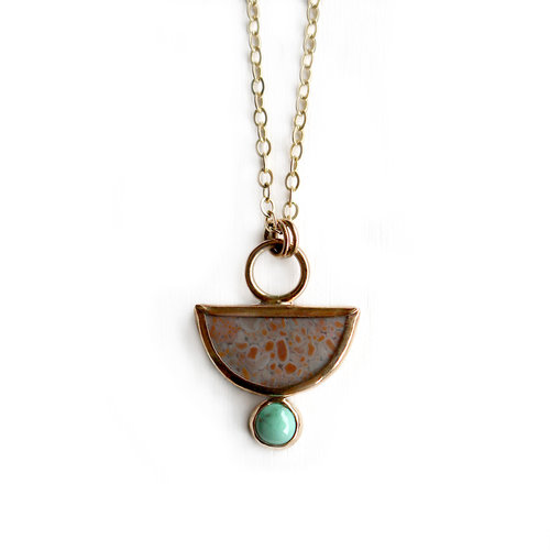 2290c50a9a5 Half Moon Jasper + Turquoise Necklace | 14 Gold Fill + Silver ...