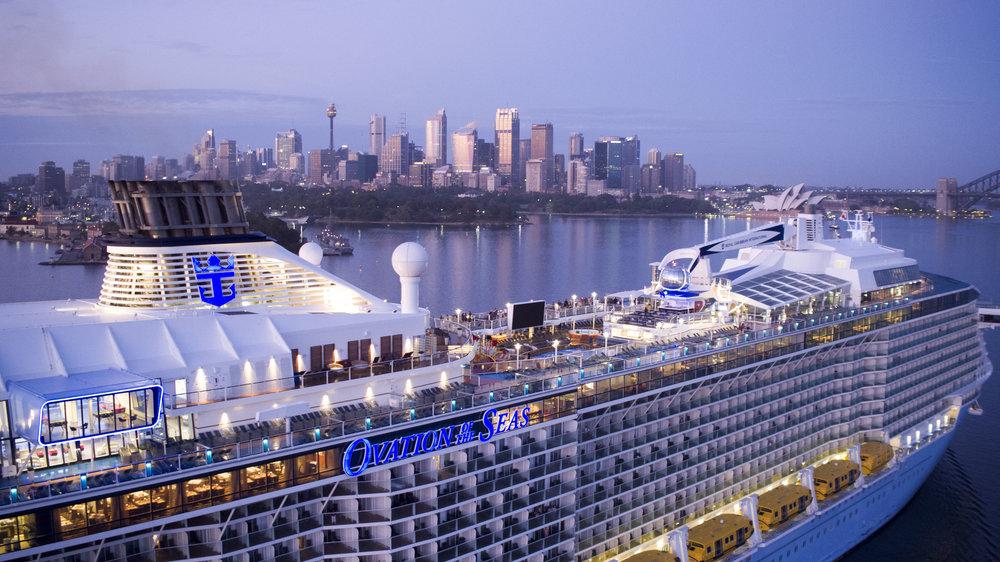 OV, Ovation of the Seas, Sydney, Australia, sunrise, arrival, aerial, drone, city landscape, 9 January 2017