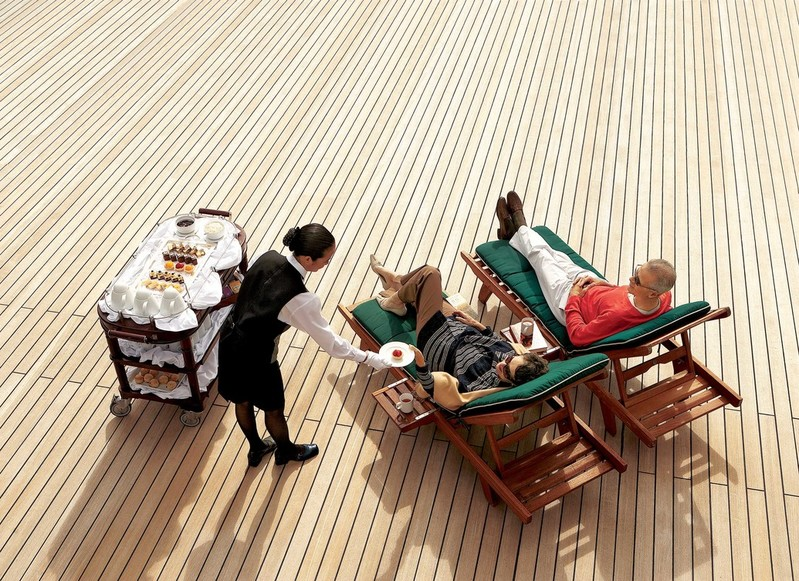 RF17541 - Queen Mary 2 QM2 afternoon tea on deck White Star Service lifestyle leisure -- QM2 Deck Lifestyle.jpg