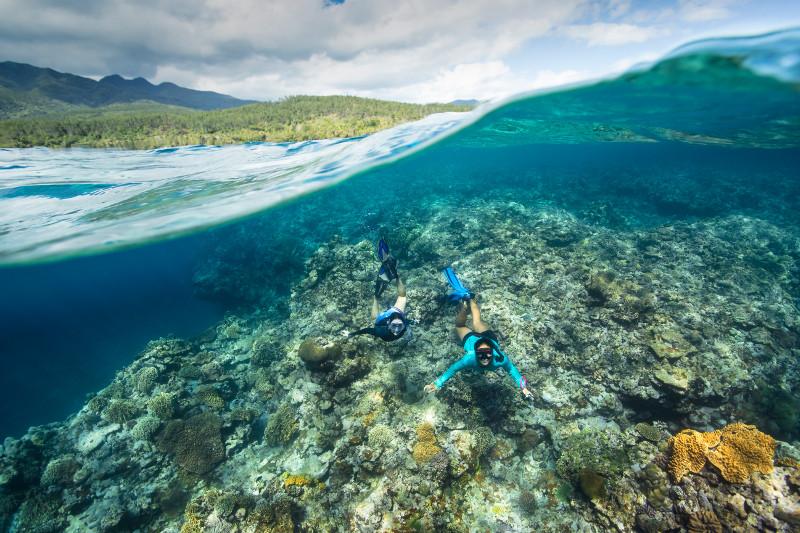 SBN_ASP_RSAY18_Ventures_Underwater reef landscape and snorkellers_near Mystery Island_Vanuatu_3.jpg