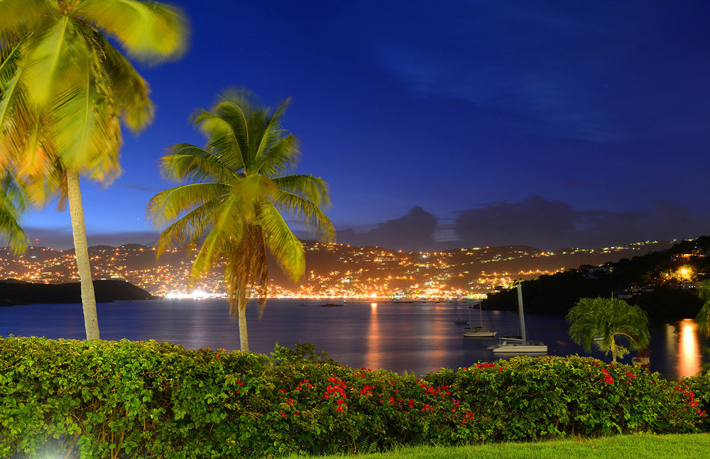 City of Charlotte Amalie and Long Bay at night, St. Thomas Island, US Virgin Islands, USA