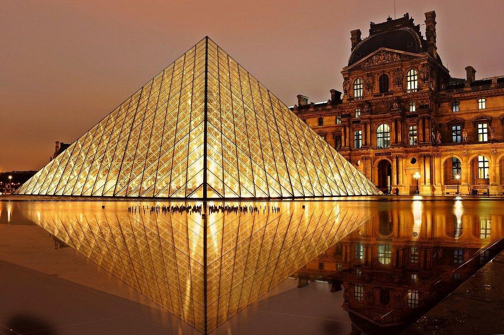 The Louvre Museum Pyramid, Paris, France