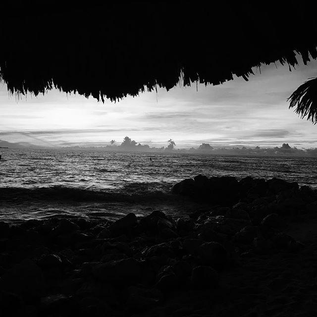 Even a noir photo of Aruba sunsets is striking....
