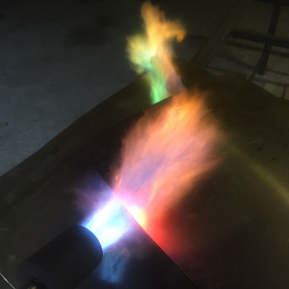 Annealing the bronze sheet for  repoussé