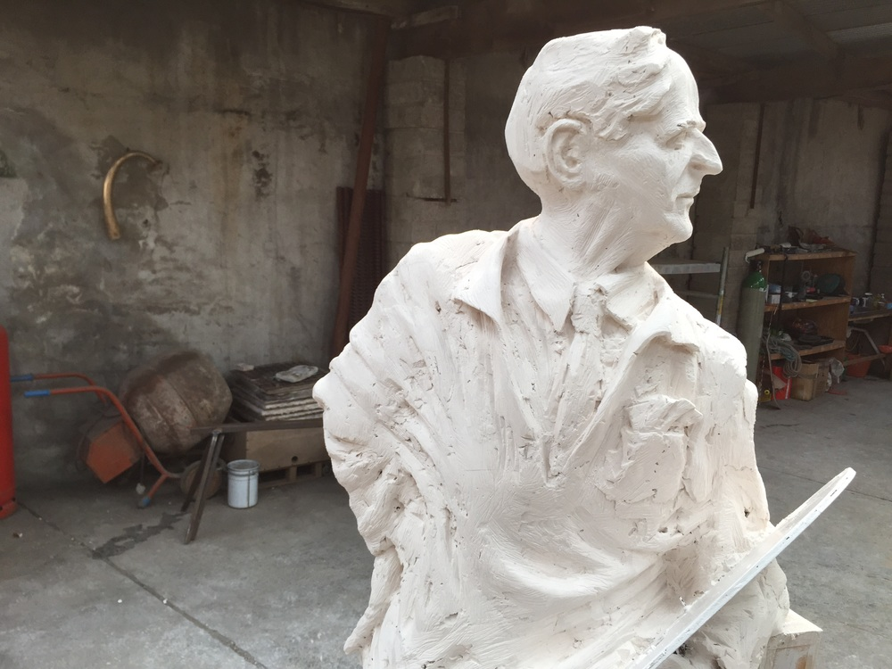 The completed plaster pattern of the sculpture after 250 hours of work...