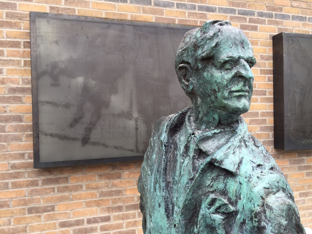 Conor's Corner : William Conor with  Lamppost Swinging  perforated in Corten steel