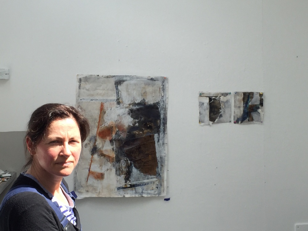 Karen Hendy with three of the works in progress