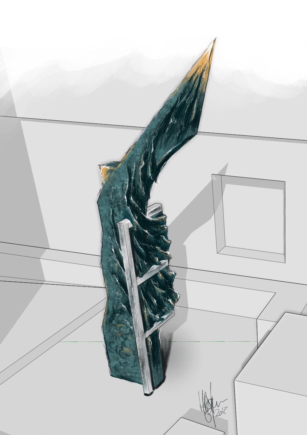 Revit® BIM image of the sculpture rendered with water-like texture