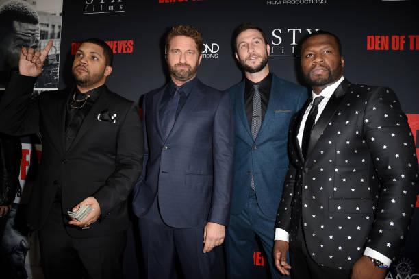 L to R: O'shea Jackson Jr, Gerard Butler,Pablo Schreiber, Curtis 50 Cent Jackson
