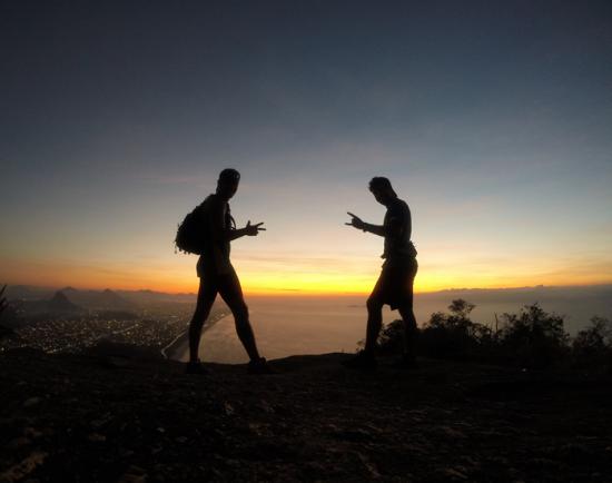 Amanhecendo no topo do Mourão, Niterói - RJ