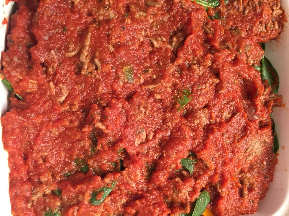 Second layer of meat sauce