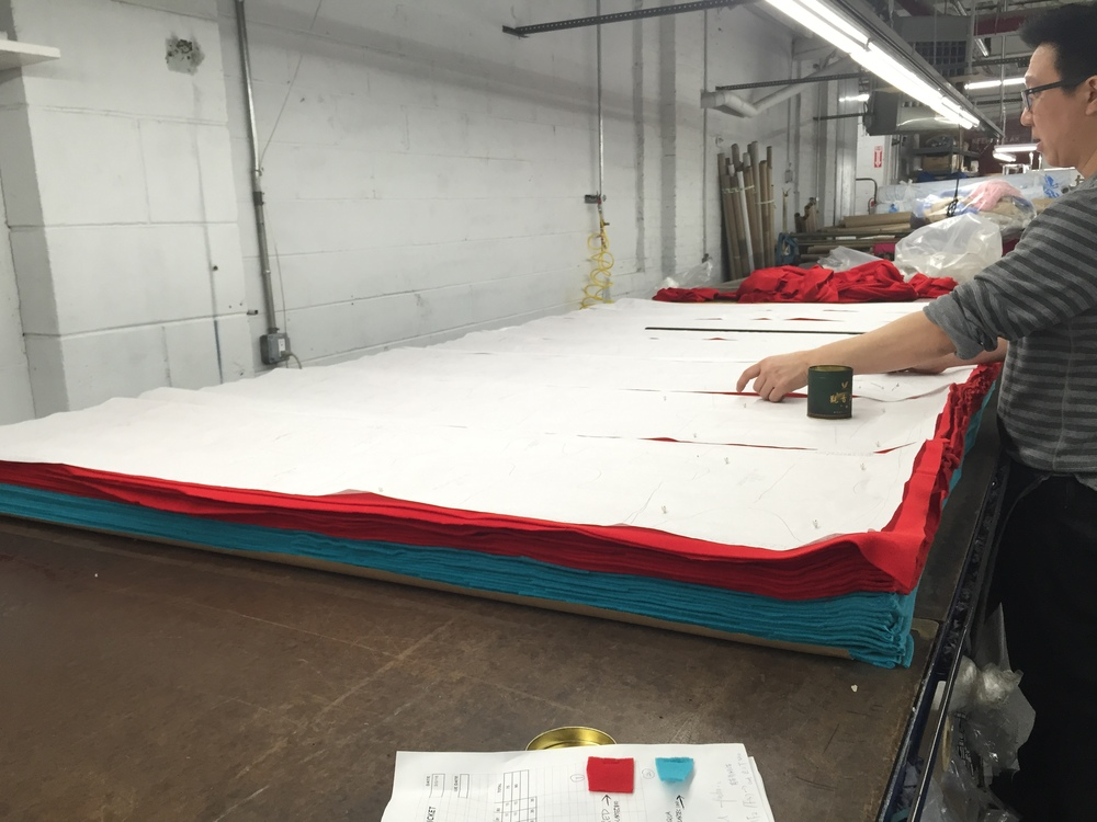 Pattern markers are laid out over fabric to get the best yield from the fabric.