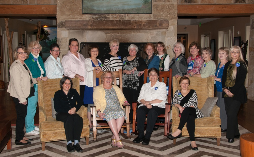 Teachers and Mary Alice (seated second from the left) took time out from their busy schedule at Blue Bonnet Studio Time 2015, to allow a photographer to capture this picture.  The standing teachers from left to right are Brenda Hart, Barbara Rakosnik, Vicki De Angelis, Meredith Willett, Midori Matsushima, Janet Casey, Debby Stiehler (guest speaker), Lynn Payette, Sylvia Murarin, Toni Gerdes, Laura Smith, Lois Kershner, Carolyn Sherman, and Linda Chirby.  Seated teachers from left to right are Tanja Berlin, Mary Alice Sinton (President of BBS, LLC), Sandra Arthur, and Deborah Tirico.