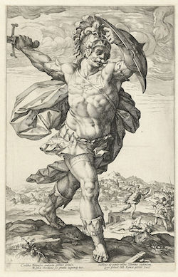 Horatius Cocles, a 1586 engraving by  Hendrick Goltzius