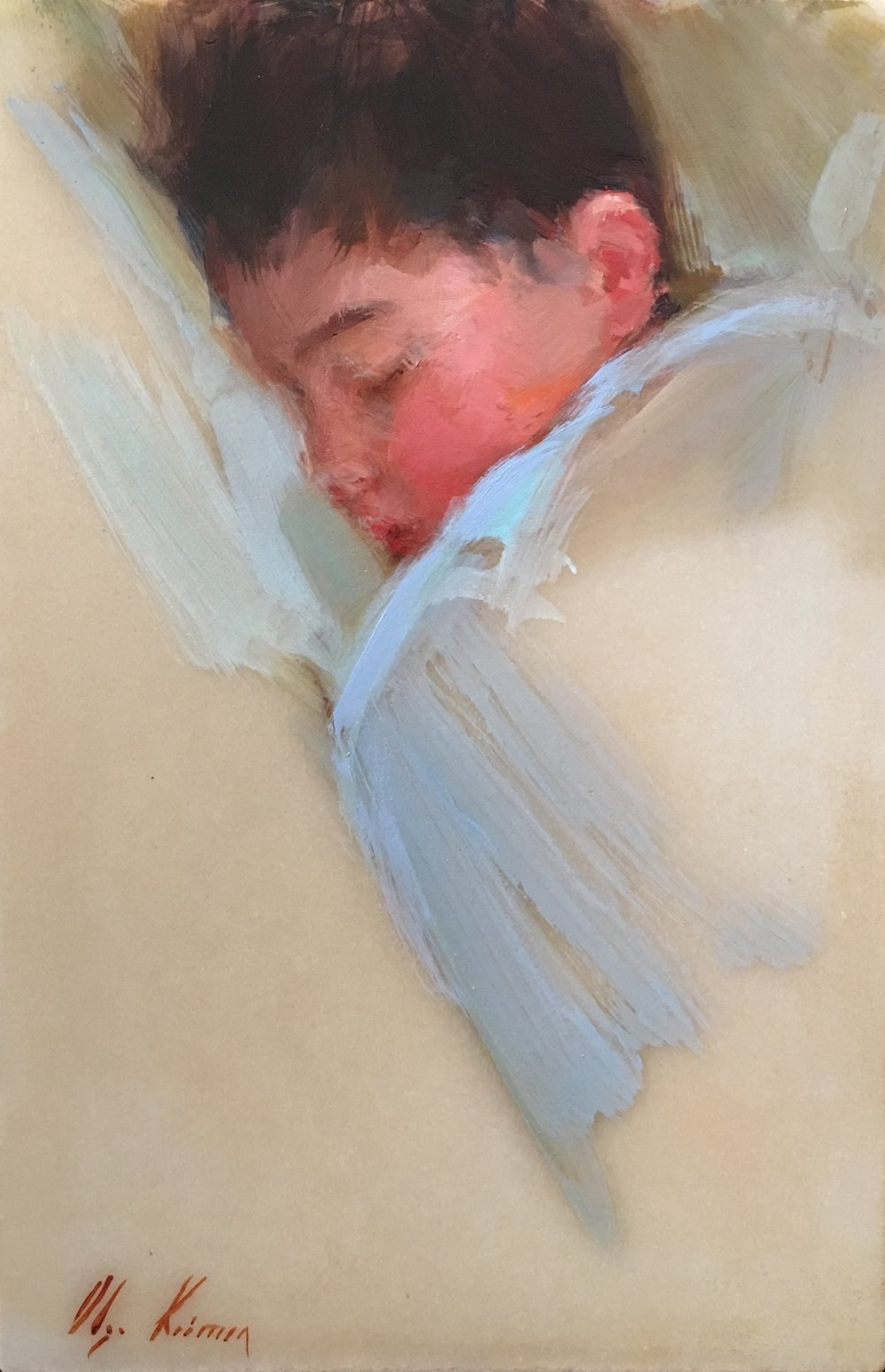 Sleeping Boy - oil on marble, 8x12.  Available through Reinert Fine Art