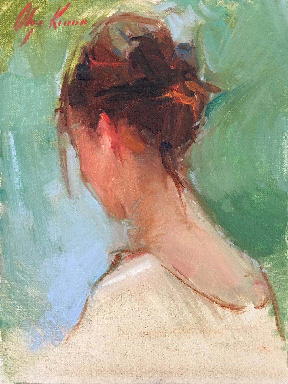 Sketch of Ania with Hair Up - oil. 6x8Available through Reinert Fine Art