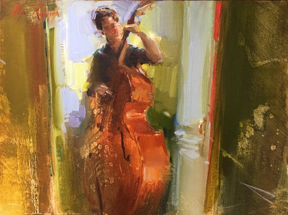 The Bassist - oil, 9x12Available through Vanessa Rothe Fine Art