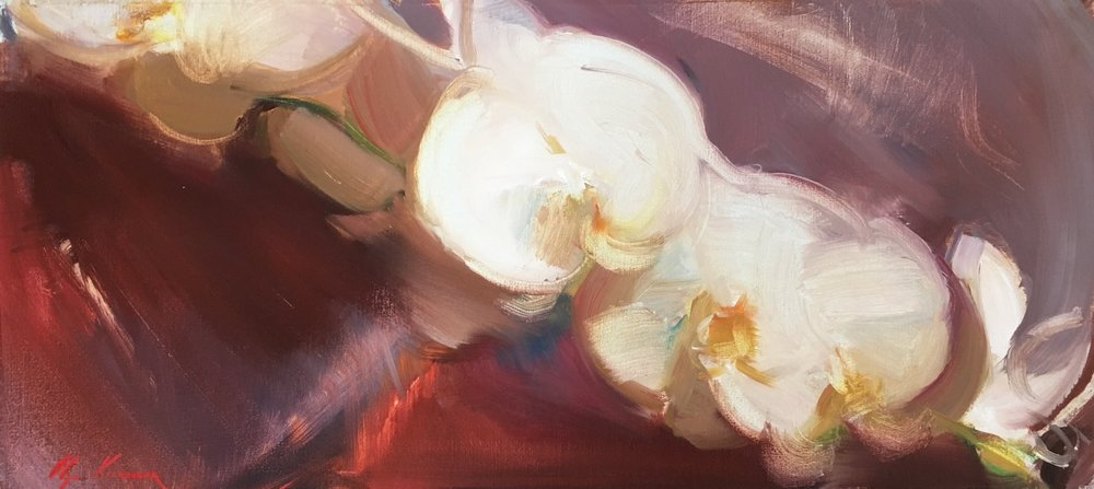 Orchids - oil, 8.5x18.5Available through Reinert Fine Art