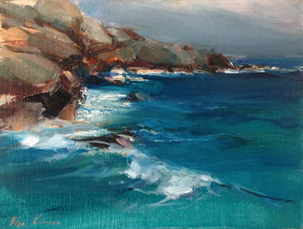 Cliffs - oil, 6x8SOLD by Vanessa Rothe Fine Art