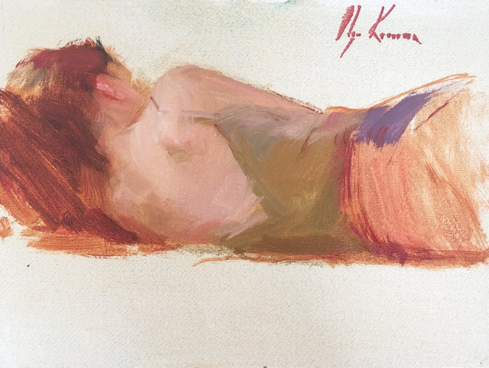 Sketch Of A Girl On The Bed - oil, 6x8Available through Reinert Fine Art