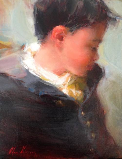 Boy in Oversized Coat - oil, 8x10SOLD by Reinert Fine Art