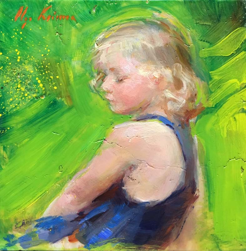 Innocence - oil on marble, 6x6SOLD through Reinert Fine Art
