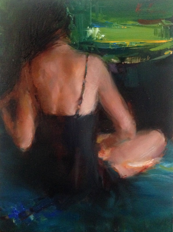 Anticipation - oil, 9x12SOLD through Reinert Fine Art