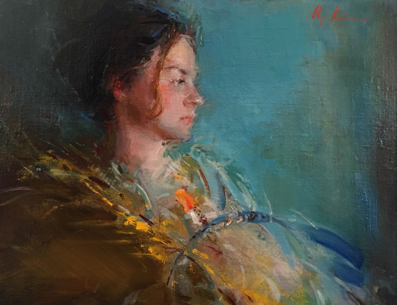 Girl with Feathers  - oil, 11x14SOLD through Reinert Fine Art