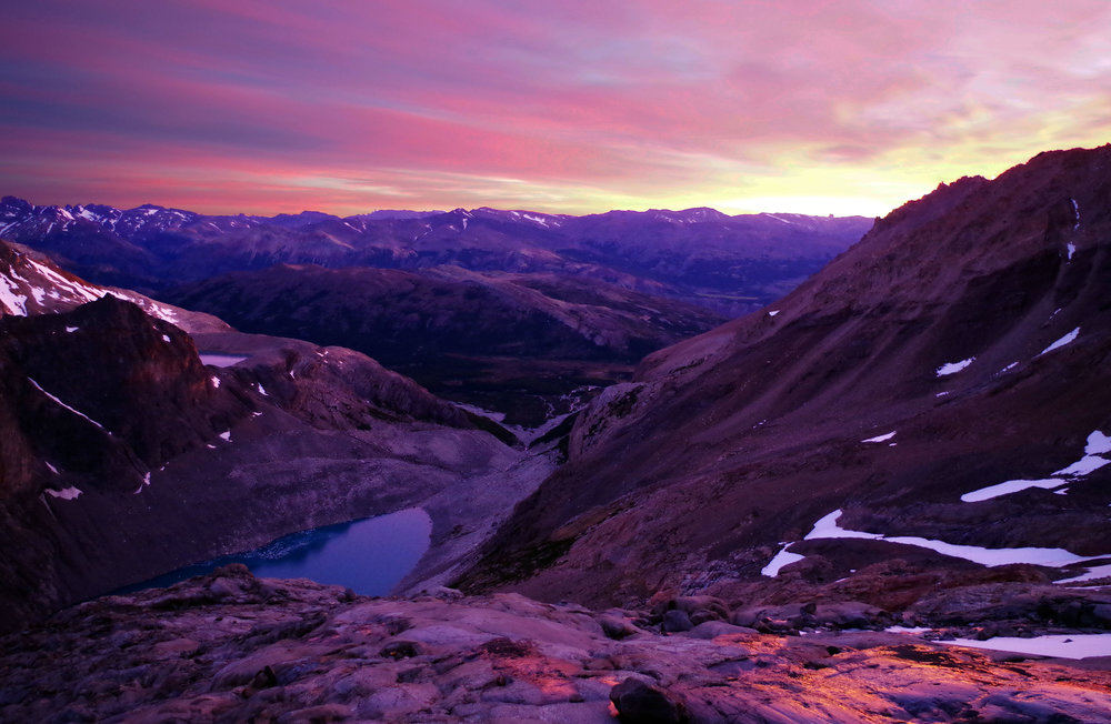 Sunset over the the foothills of Monte Fitz Roy, Patagonia, Argentina