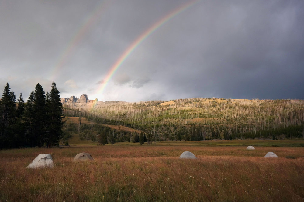 Rainbow over a camp in the Yellowstone National Park, Montana