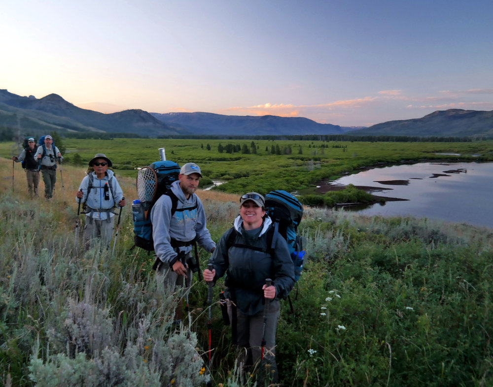 Sunrise hike along the Yellowstone River, Yellowstone National Park, Wyoming