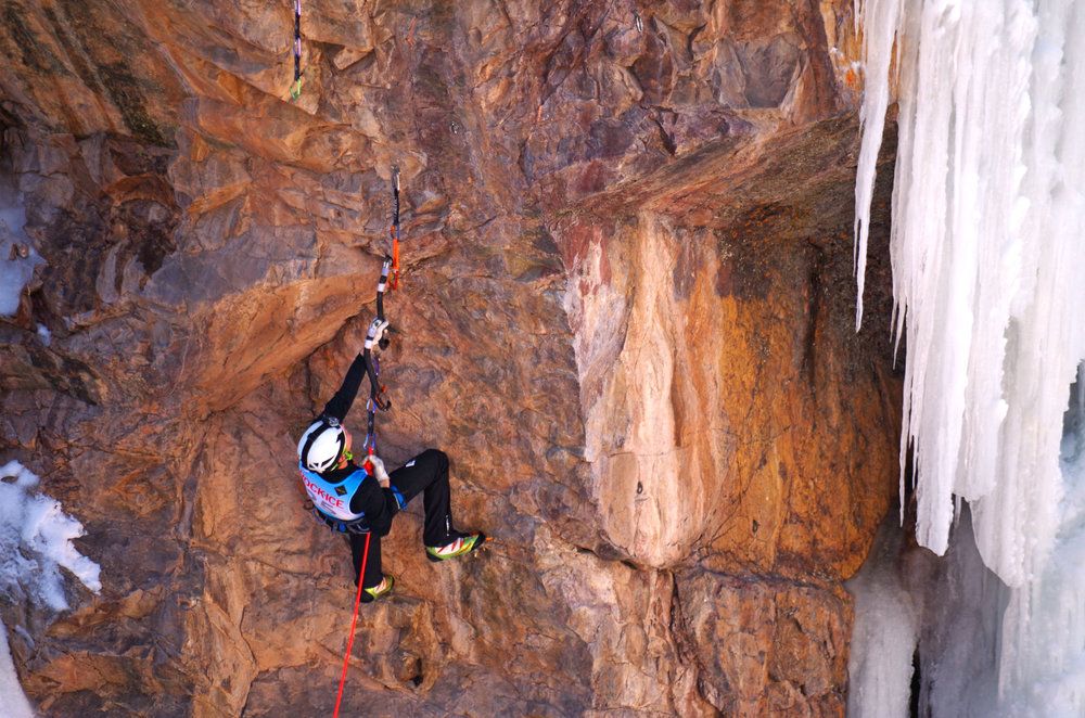 Ice climbing at the Ouray Ice Festival, Ouray, Colorado