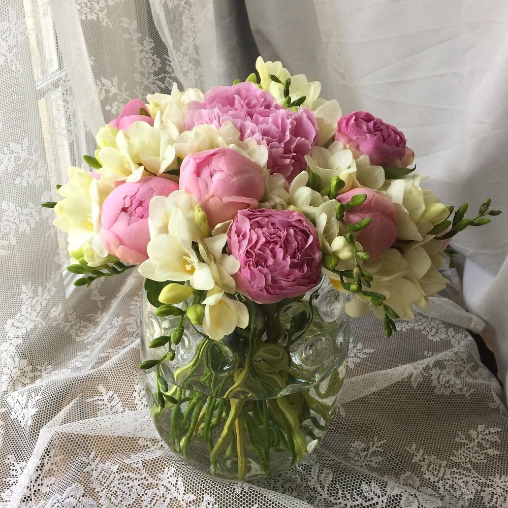 Freesia & Pink Peonies
