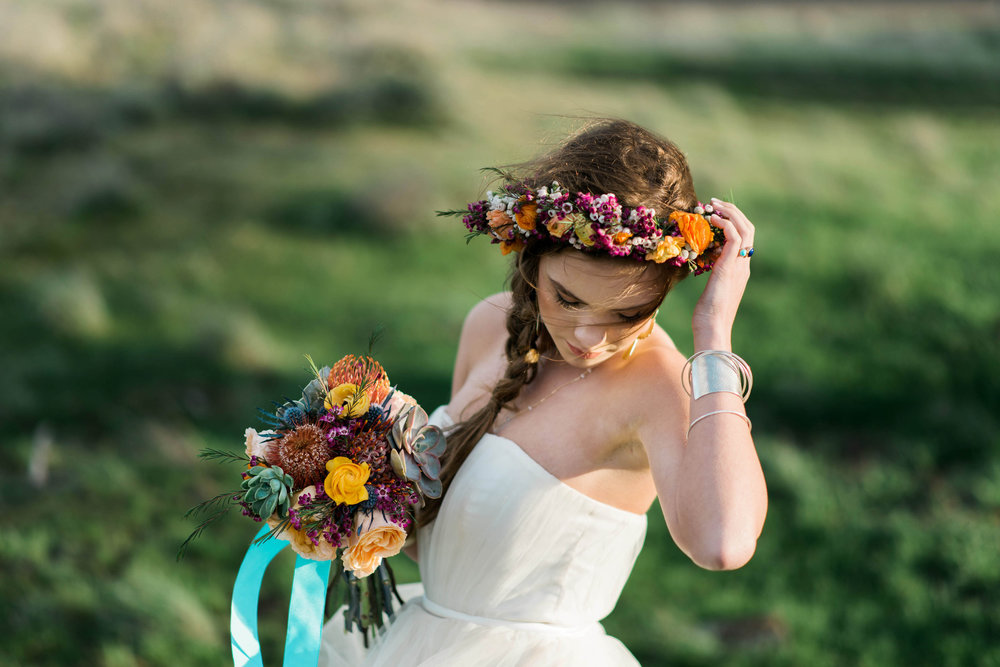 Southwest Flower Crown & bouquet
