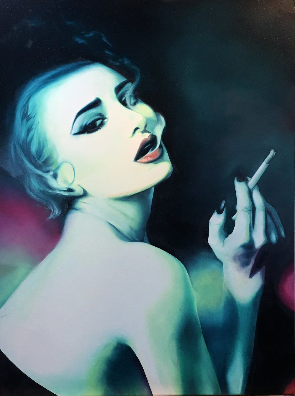 """Lady Absinthe"" by Ginger Del Rey Oil on Gesso Board 24"" x 18"" x 1"""