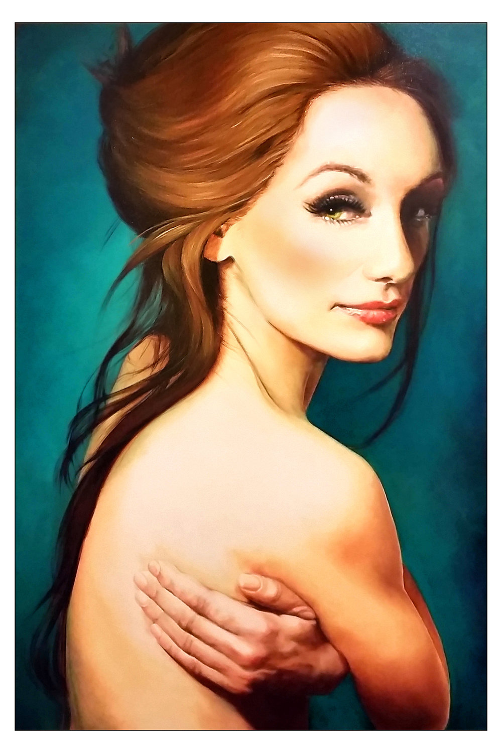 """Bare"", 2015, Ginger Del Rey  oil on canvas 36"" x 24"" x .5""  Sold  This is my second portrait of my dear friend Jorgi. I think she may be my muse :) Her combination of fragility, sadness and grace is so compelling. She always tells a story with her face. She's a complicated girl- at times she's bold and energetic, ready to befriend the world with her bohemian style and playful energy. At other times, she's reclusive, fragile and filled with self-doubt. A beautiful paradox. I think it's her polarized personality that draws me to paint her over and over again, forever trying to capture her state of mind."