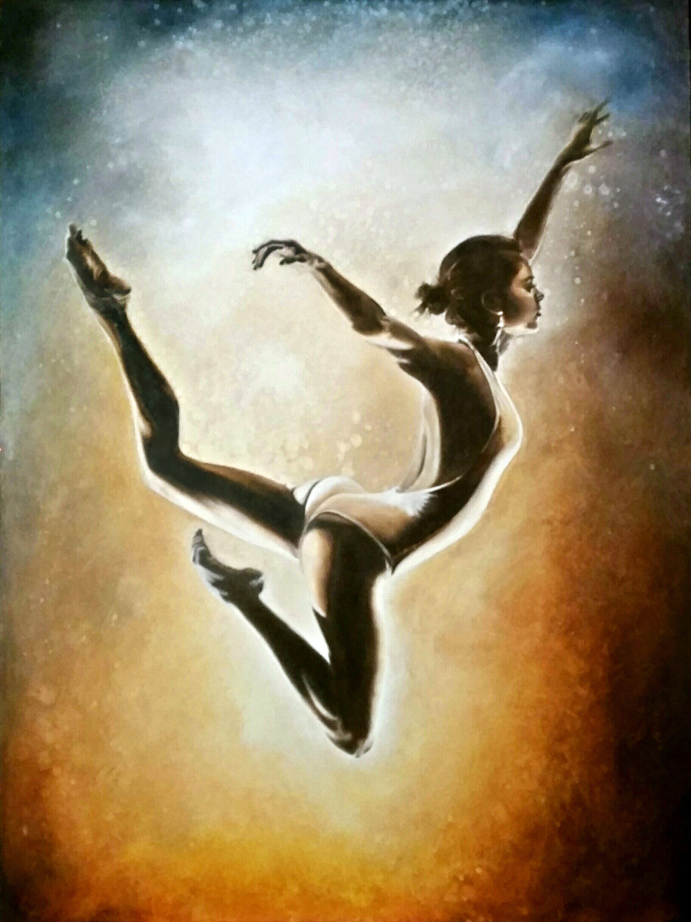 """Just Float"", 2015, Ginger Del Rey  oil on gesso board 24"" x 18"" x 1""  Sold  I imagine this lovely dancer as free-floating through a cosmic nebula, no gravity or friction to restrain her…free to simply float with perfect grace…"