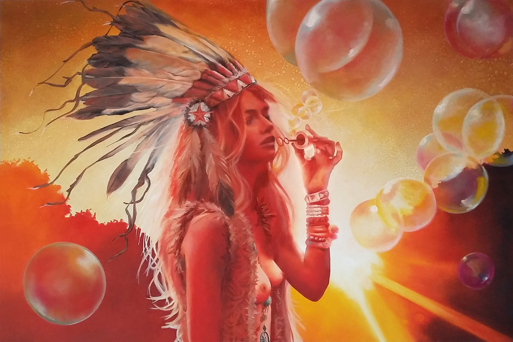 """Lost in the Light"", 2015, Ginger Del Rey  oil on canvas 24"" x 36"" x .6""  $2500  The inspiration for this painting was a particularly vivid daydream I had of walking through the mountains in Sedona, blowing bubbles and watching the sun slowly drip beneath the horizon, shooting out dusty white hot beams of light in every direction. This is one my favorite paintings because, since I was a child growing up in Wisconsin, I've been fascinated with all things Native American. I was particularly drawn to the beauty of the headdress, and while I'm very cognizant that the war bonnet is not worn by women or worn in casual settings, I wanted to bring a peaceful, light-giving and feminine reclamation to the headdress. I hope that is captured here, nothing but reverence and admiration is intended."