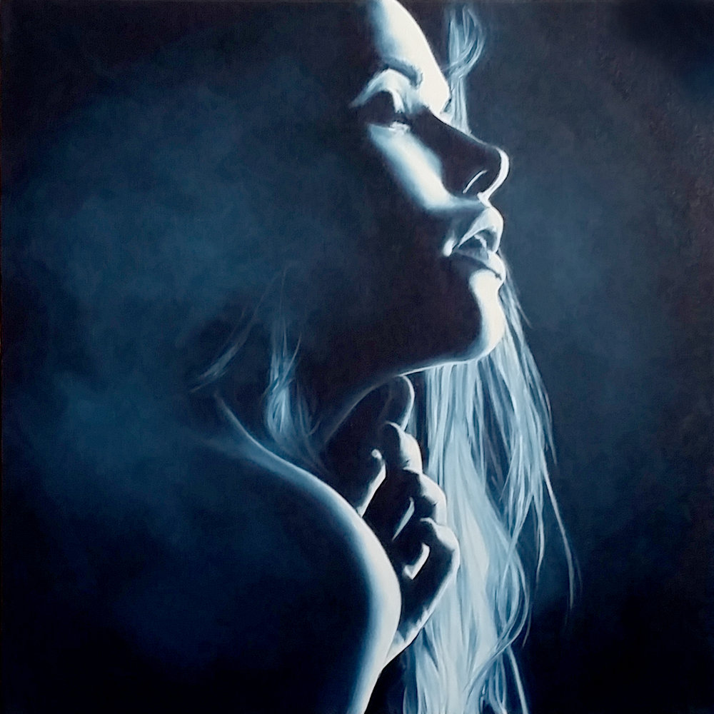 """Memory of You"", 2016, Ginger Del Rey  oil on canvas 24"" x 24"" x .6""  Sold  $2180  This painting is based on a black and white I found in my online searches for perfect chiaroscuro :) It's the first time I've ever painted a monochromatic piece and it was quite liberating! It turned out to be one of my favorite paintings - I feel it really captures a moment in time of woman lost in her memories, thinking of her lover's touch."