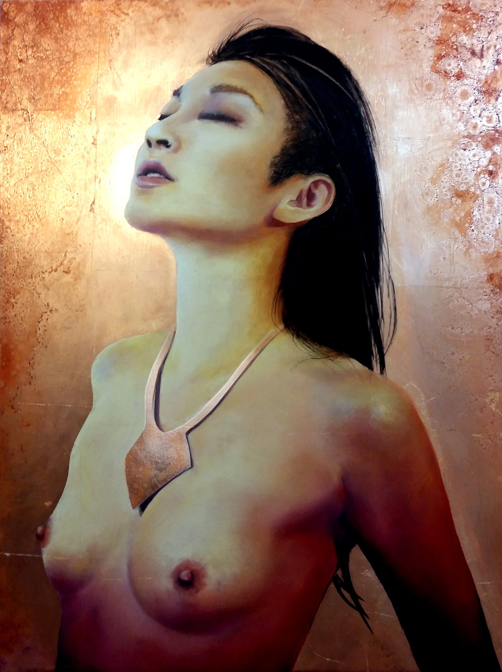 """Strength in Surrender"", 2016, Ginger Del Rey  oil and copper leaf on gesso board 24"" x 18"" x 1""  Sold  This is a portrait of the immensely creative and dynamic force that is performance artist, Poppy Liu. We had a powerful and emotional photoshoot together that culminated in a series of deeply personal portraits of a woman learning to find her strength through channels she was just beginning to explore.  ""  To be empowered and in my body without being diminished or policed or sexualized. To be free.""  - Poppy Liu"