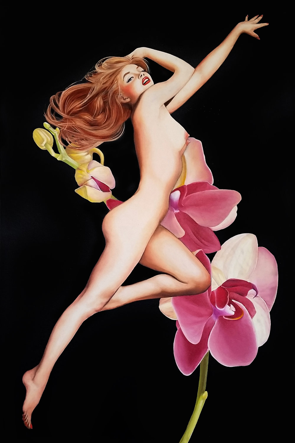 """Sweet Bloom"", 2014, Ginger Del Rey  oil on canvas 36"" x 24"" x .6""  $2500  My tribute to the timeless beauty that is Marilyn Monroe. In my eyes, she'll always be her natural redheaded self....with porcelain skin and rosebud areola signifying the sweet bloom of youth. I painted this painting to pair with The Icon."