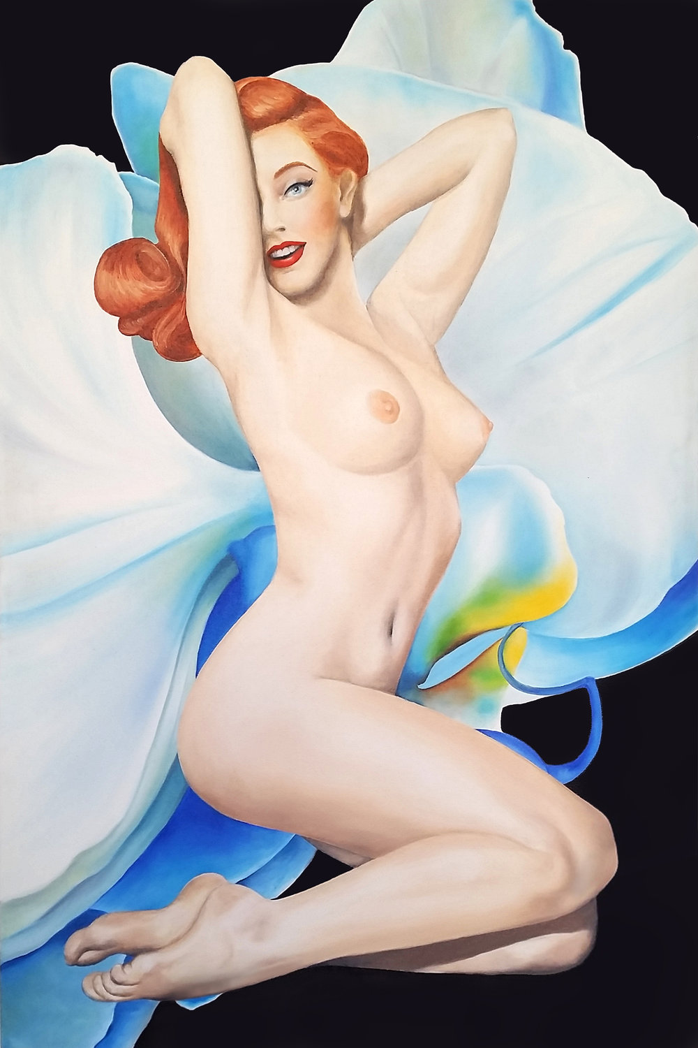 """The Icon"", 2014, Ginger Del Rey  oil on canvas 36"" x 24"" x .6""  $2500  This is the 2nd in my limited series of six pin-up girls set against a Georgia O'Keefe-style backdrop. The idea to marry the two images came from a photo shoot with a natural, fair-skinned redhead who was rare in her loveliness. As I studied her translucent, radiant skin - blushing gently in peach and rose with a faint bluish undertone, I couldn't help but think how very similar her skin was to the delicate petals of an orchid, fragile and rare."