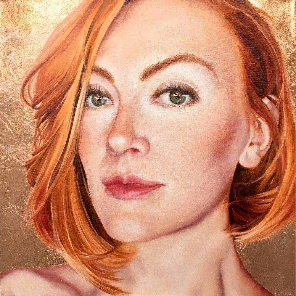 """The Girl with the Ginger Hair"", 2016, Ginger Del Rey  oil and copper leaf on canvas 24"" x 24"" x .5""  $2750  I was inspired by a Dutch girl I've never met to capture her radiance and unusual grace. Her name is Emma. She reminds me of Grace Kelly. I love the gentle spray of freckling across her nose and imperious arch of her brow. It was a lot of fun creating this painting, playing around with the rose-peach palette and then playing up her incandescent beauty with the rose gold leaf around the edges. Naming this painting was obvious once I connected my love of Vermeer to her Dutch heritage :)"