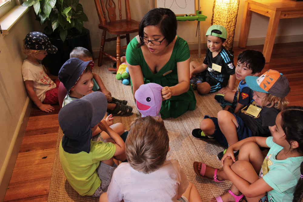 Co-Founder Whitney Yip introducing consent with Huggtopus at Bridge Road Early Learning Centre.  Photo: Klari Agar