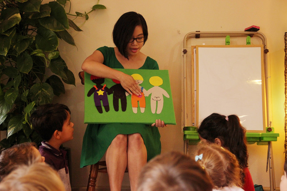 Children at Bridge Road Early Learning Centre learning the difference between public and private body parts with co-founder Whitney Yip.  Photo: Klari Agar